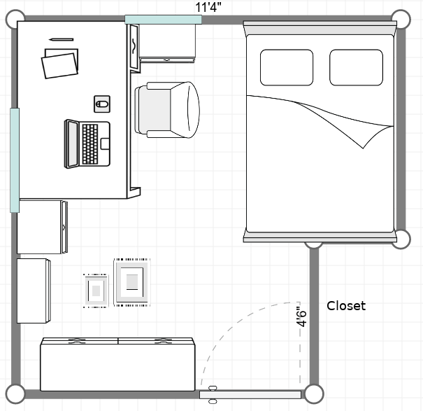 A rough layout of an 11 foot by 11 foot room where I currently live. Space is at a premium in here.