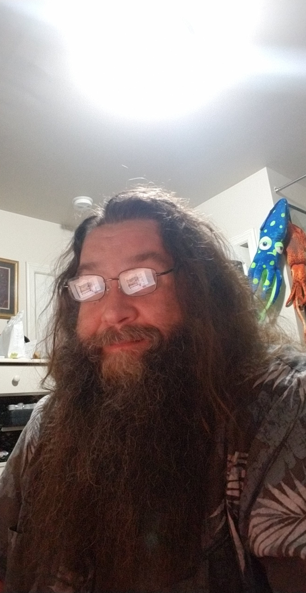 A self-portrait taken with a smartphone of an individual with long hair and a large beard sitting at a desk.